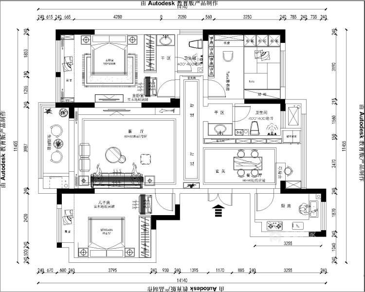141平建业·壹号城邦新中式风格-平面设计图及设计说明