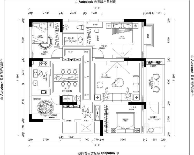 157平上虞·大通佳苑美式轻奢风格-平面设计图及设计说明