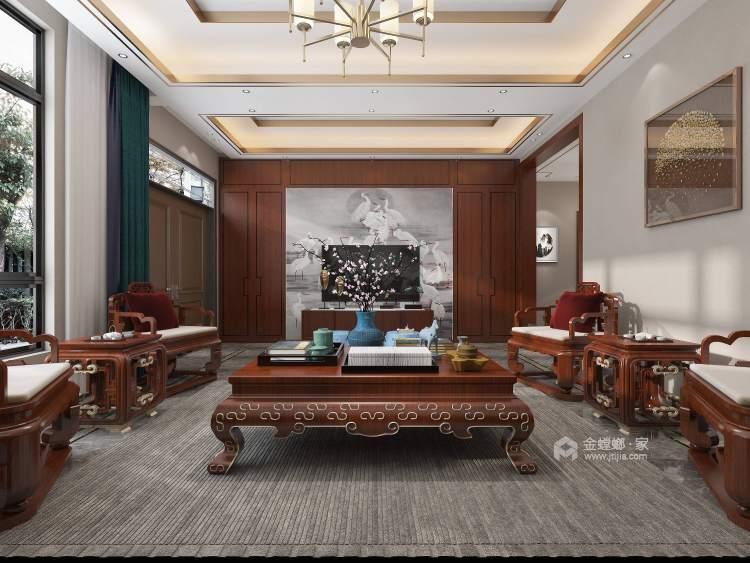 370平聚贤庭院新中式风格-客厅效果图及设计说明