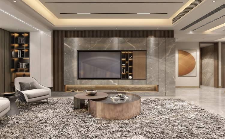 420平建业·山水湖城现代风格-客厅效果图及设计说明