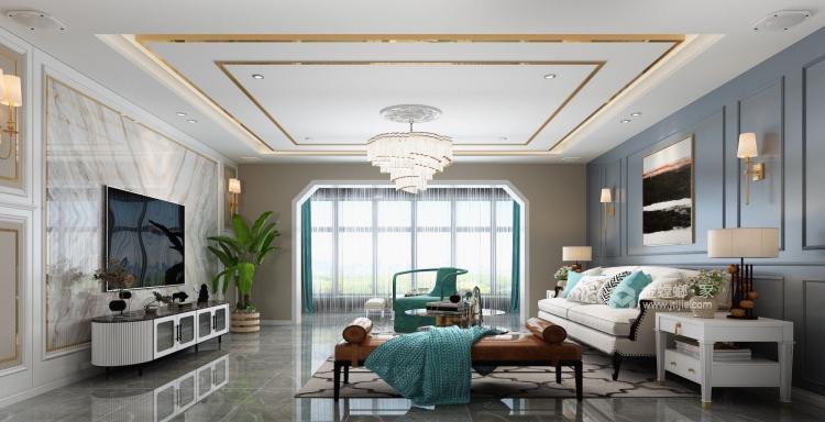 157平上虞·大通佳苑美式轻奢风格-客厅效果图及设计说明