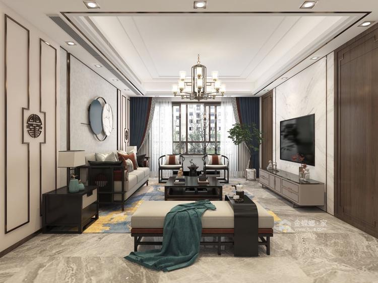 141平建业·壹号城邦新中式风格-客厅效果图及设计说明