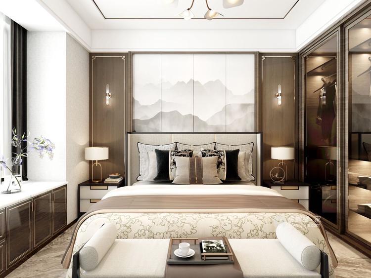 141平建业·壹号城邦新中式风格-卧室效果图及设计说明
