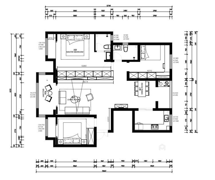 136平建业森林半岛现代风格-平面设计图及设计说明