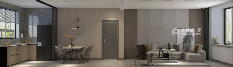 140平中房越秀城现代风格-家的遐思-客厅效果图及设计说明