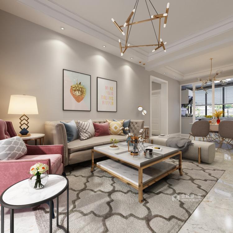 120平华恩城简美风格-精致并无繁华-客厅效果图及设计说明