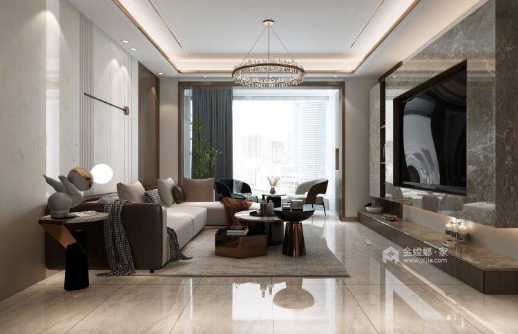 130平建业·公园里现代风格-客厅效果图及设计说明