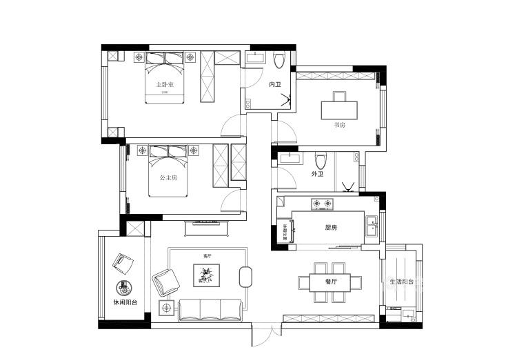 130平建业·公园里现代风格-平面设计图及设计说明