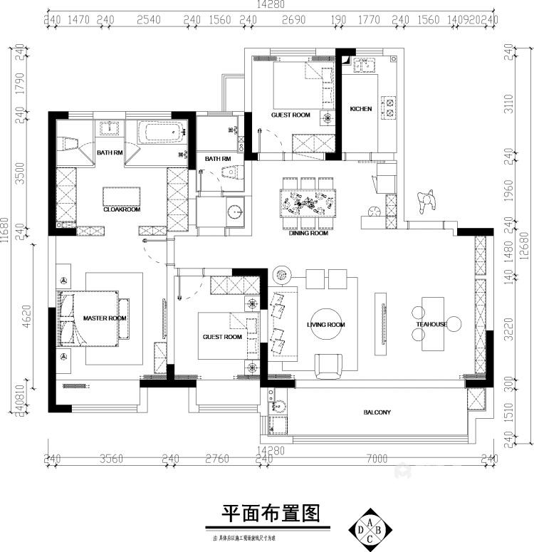 143平建业世和府美式风格-华丽深处,梦若浮生-平面设计图及设计说明