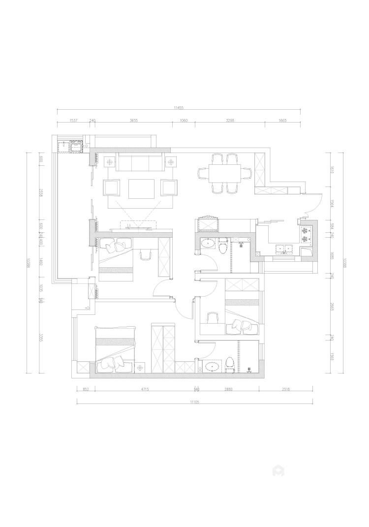 118平天宁吾悦现代风格-让家更亲切-平面设计图及设计说明