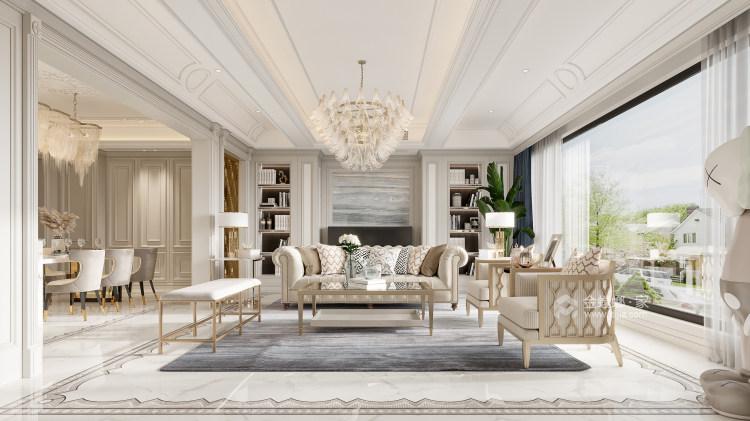 188平龙湖春江天玺法式风格-优雅是永不褪色的美-客厅效果图及设计说明