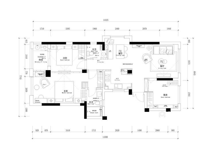 109平金星园现代风格-品质单身,质感享受-平面设计图及设计说明