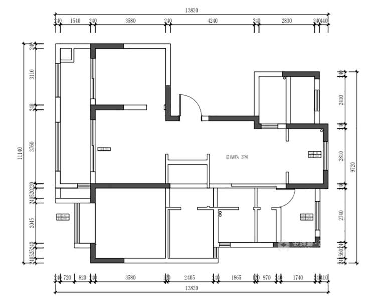 127平红星天铂现代风格-业主需求&原始结构图