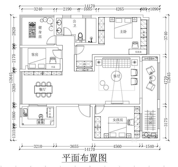145平金大地时代公馆现代风格-平面设计图及设计说明