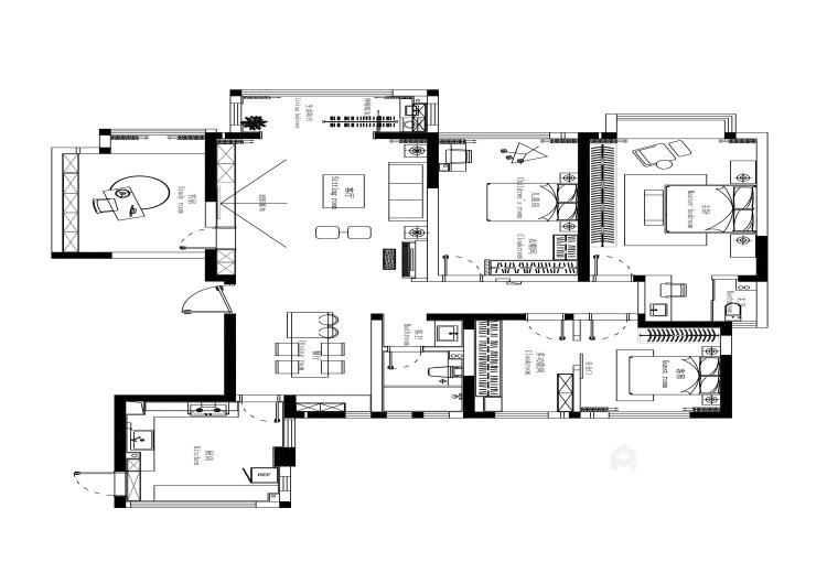 180平阳光和苑现代风格-平面设计图及设计说明