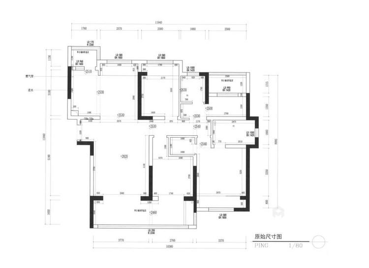 130平南山楠现代风格-业主需求&原始结构图