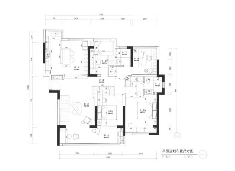 130平南山楠现代风格-平面设计图及设计说明