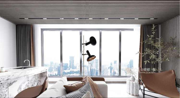 190平金茂府现代风格-生活原有的样子-客厅效果图及设计说明