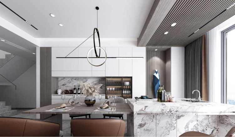 190平金茂府现代风格-生活原有的样子-餐厅效果图及设计说明