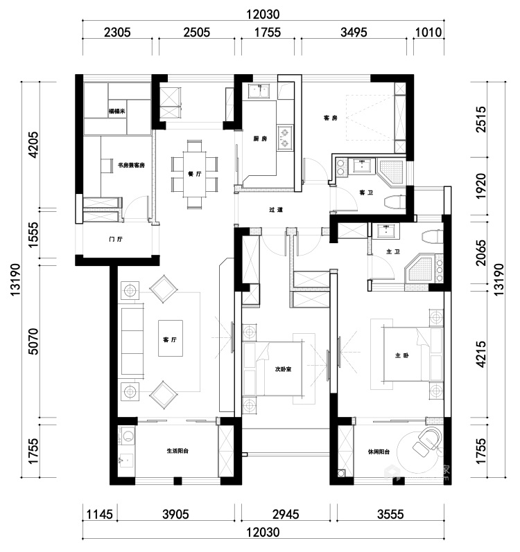 142平中天和景苑新中式风格-闲情雅趣-中式与现代材料的碰撞-平面设计图及设计说明