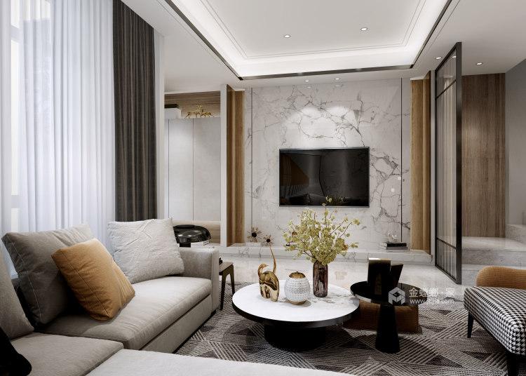 180平景瑞御江山现代风格-精致的现代居住空间-客厅效果图及设计说明