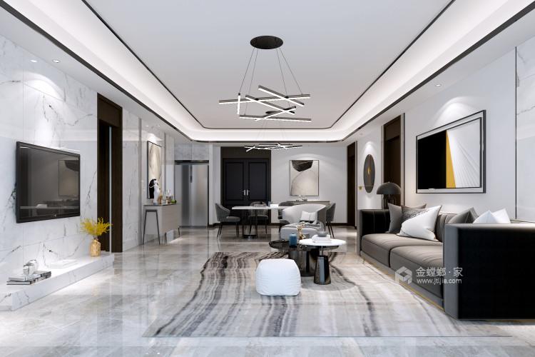 """166平石湖湾现代风格-灰调奢华-灰色系的""""低调奢华,有内涵""""-客厅效果图及设计说明"""