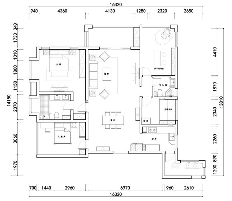 """166平石湖湾现代风格-灰调奢华-灰色系的""""低调奢华,有内涵""""-平面设计图及设计说明"""