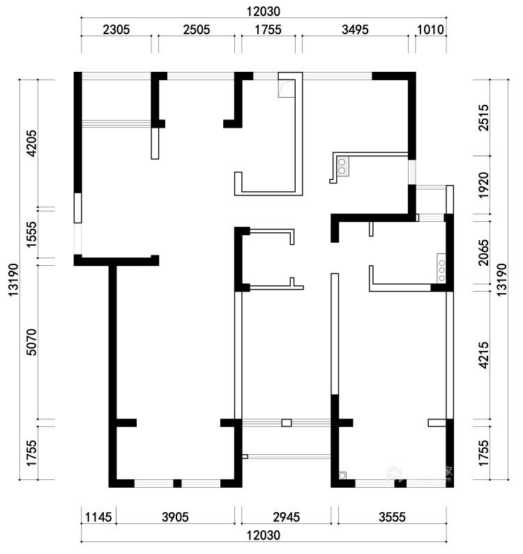 142平中天和景苑新中式风格-闲情雅趣-中式与现代材料的碰撞-业主需求&原始结构图