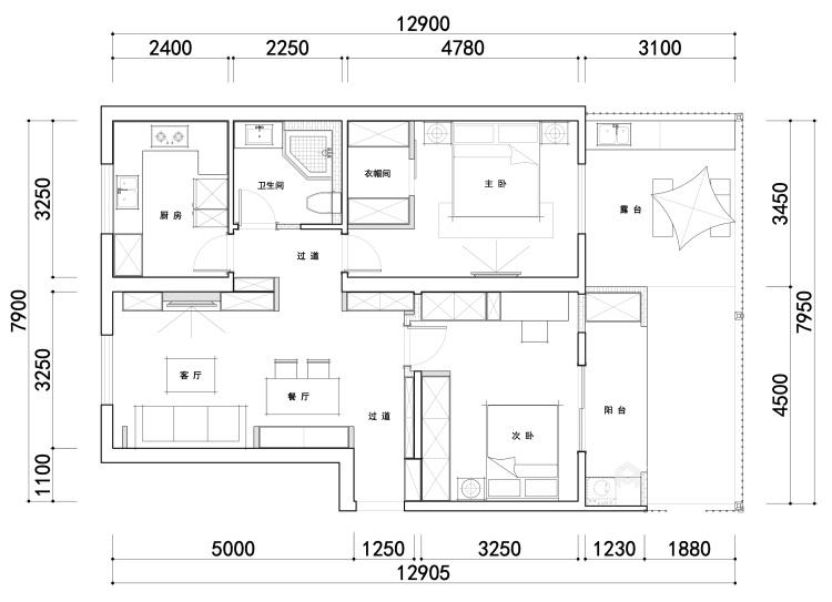 """85平远洋花园现代风格-邂逅时光-85㎡收纳""""巨能装""""-平面设计图及设计说明"""