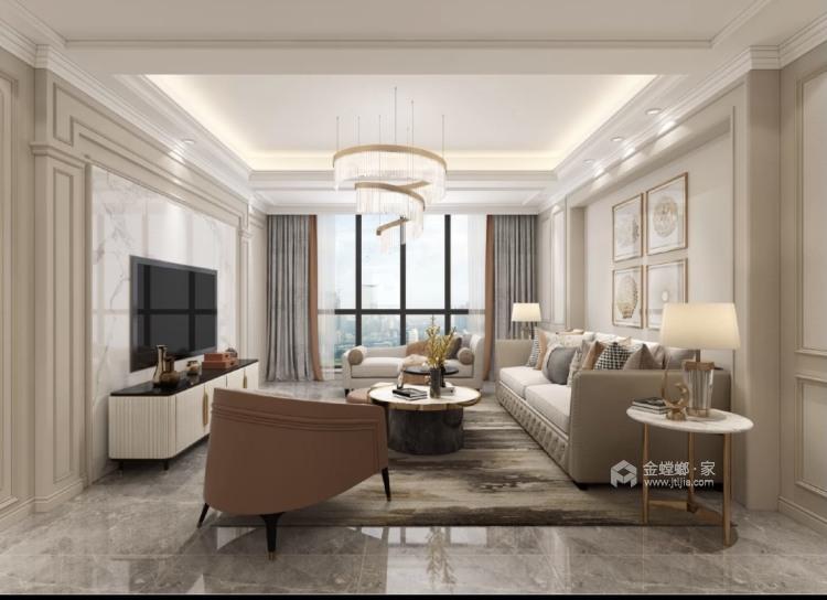 143平龙湖时代天街简欧风格-清新高贵   难以表达的美感-客厅效果图及设计说明
