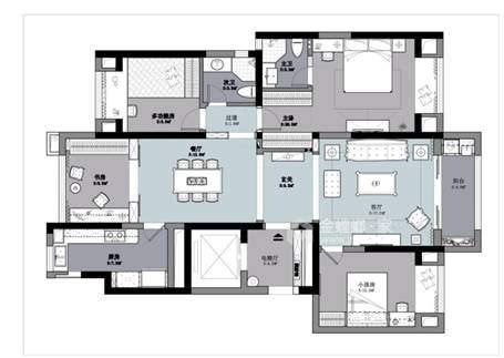 143平龙湖时代天街简欧风格-清新高贵   难以表达的美感-平面设计图及设计说明