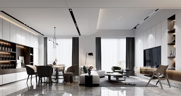 360平自建房现代风格-追光者-格调极简,品质生活-客厅效果图及设计说明
