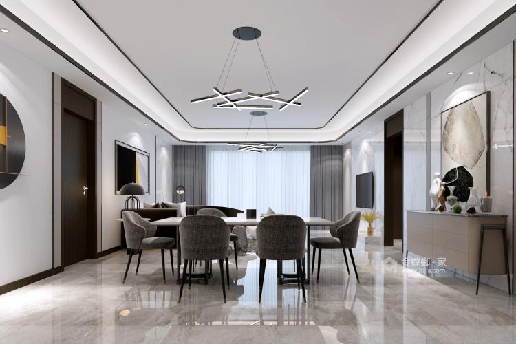 """166平石湖湾现代风格-灰调奢华-灰色系的""""低调奢华,有内涵""""-餐厅效果图及设计说明"""