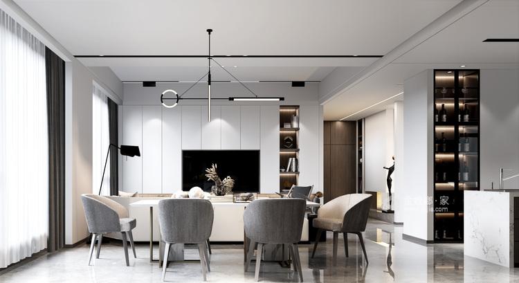 360平自建房现代风格-追光者-格调极简,品质生活-餐厅效果图及设计说明