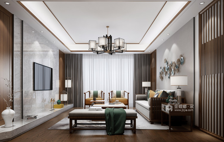 142平中天和景苑新中式风格-闲情雅趣-中式与现代材料的碰撞-客厅效果图及设计说明