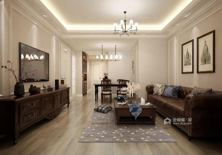 220平招商学府新中式风格-新中式品质-客厅效果图及设计说明