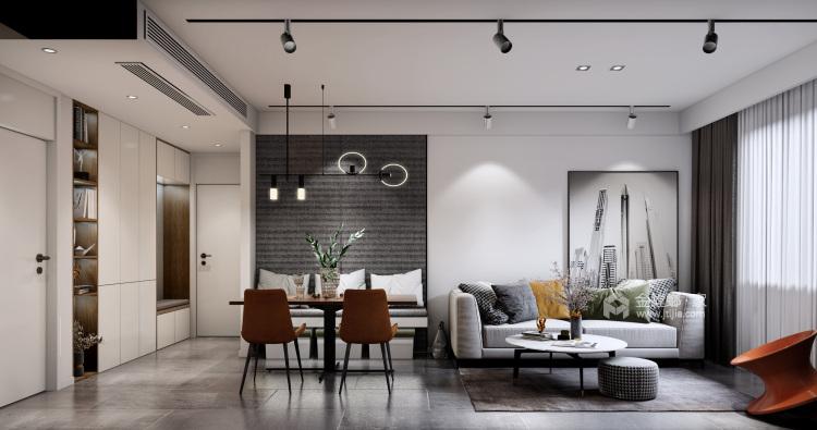"""85平远洋花园现代风格-邂逅时光-85㎡收纳""""巨能装""""-客厅效果图及设计说明"""