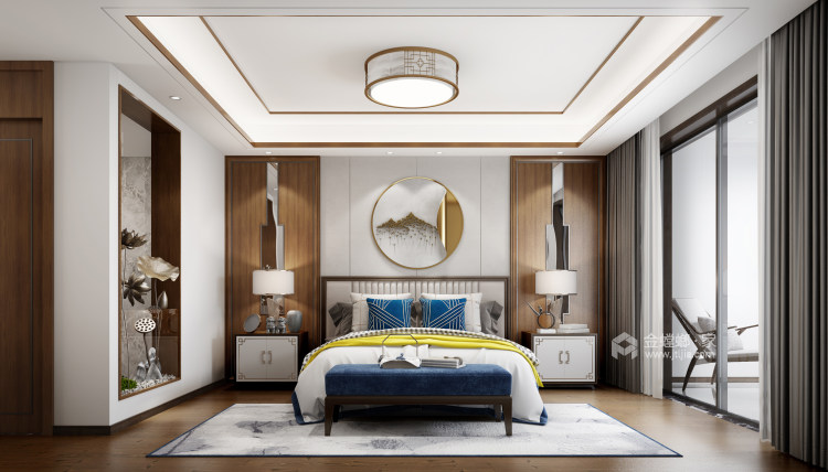 142平中天和景苑新中式风格-闲情雅趣-中式与现代材料的碰撞-卧室效果图及设计说明