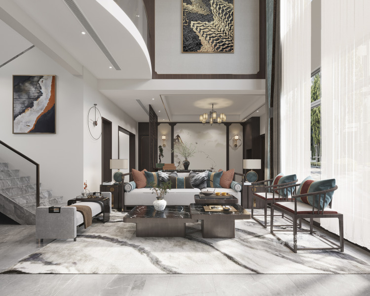 350平西山自建房新中式风格-客厅效果图及设计说明