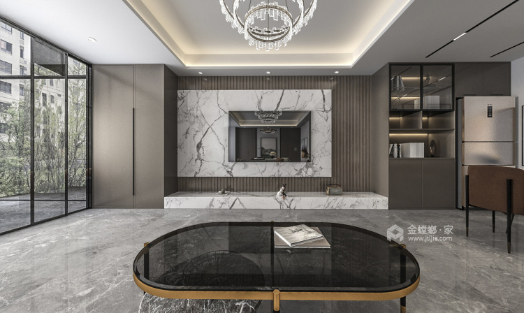 140平国瑞熙墅现代风格-客厅效果图及设计说明