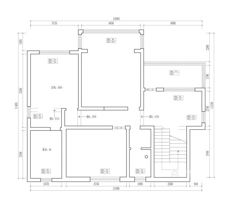 350平西山自建房新中式风格-业主需求&原始结构图