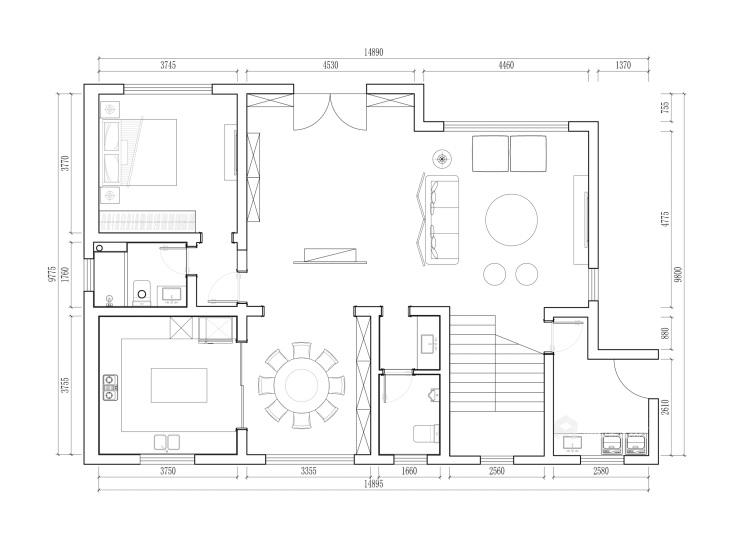 350平西山自建房新中式风格-平面设计图及设计说明