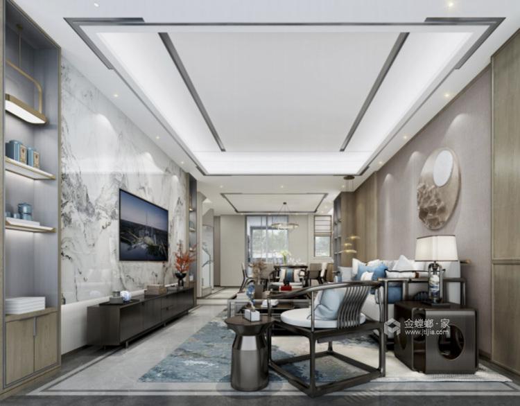 160平鲁能公馆新中式风格-客厅效果图及设计说明