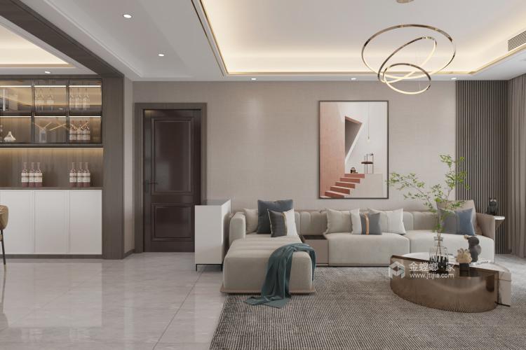 130平金悦华府现代风格-简约带点轻奢-客厅效果图及设计说明