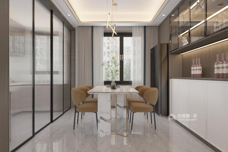130平金悦华府现代风格-简约带点轻奢-餐厅效果图及设计说明