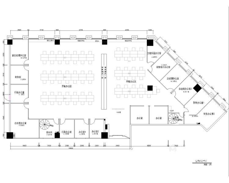 300平霄云中心办公室现代风格-平面设计图及设计说明