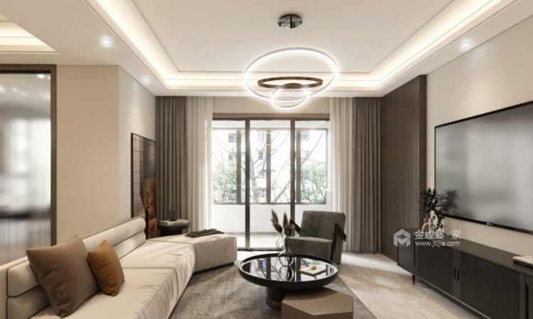 129平金茂熙悦现代风格-静谧-寻找内心深处的宁静-客厅效果图及设计说明