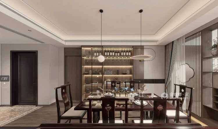 178平观枫四季花园现代风格-极富东方感的清逸淡雅-餐厅效果图及设计说明