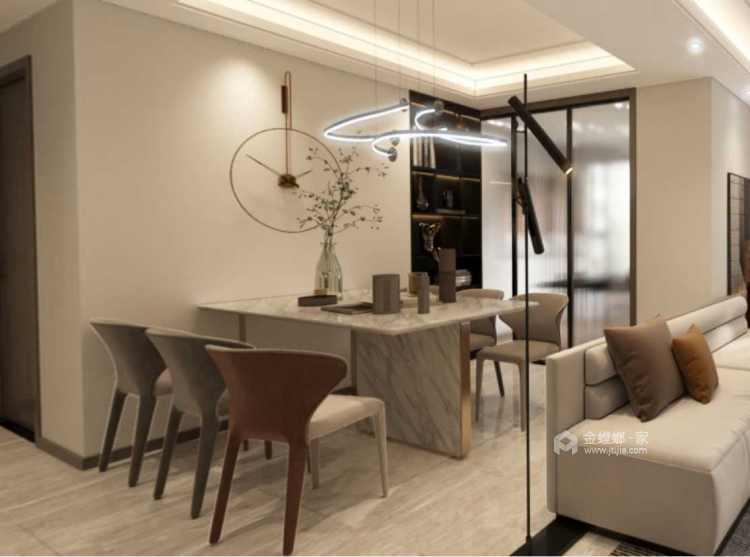 129平金茂熙悦现代风格-静谧-寻找内心深处的宁静-餐厅效果图及设计说明
