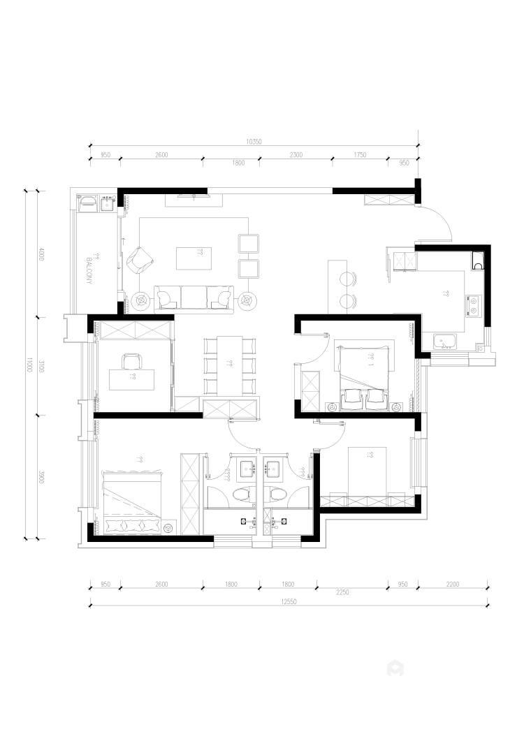129平金茂熙悦现代风格-静谧-寻找内心深处的宁静-平面设计图及设计说明